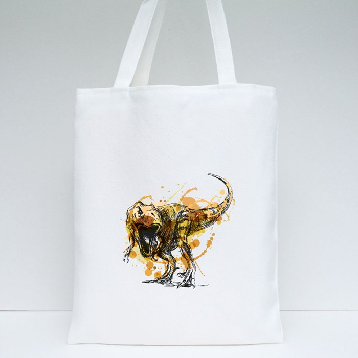 Colored Hand Sketch Tyrannosaurus Tote Bags
