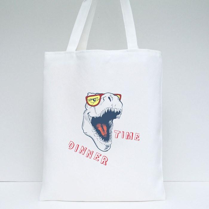 Dinner Time of School Dinasaur Tote Bags