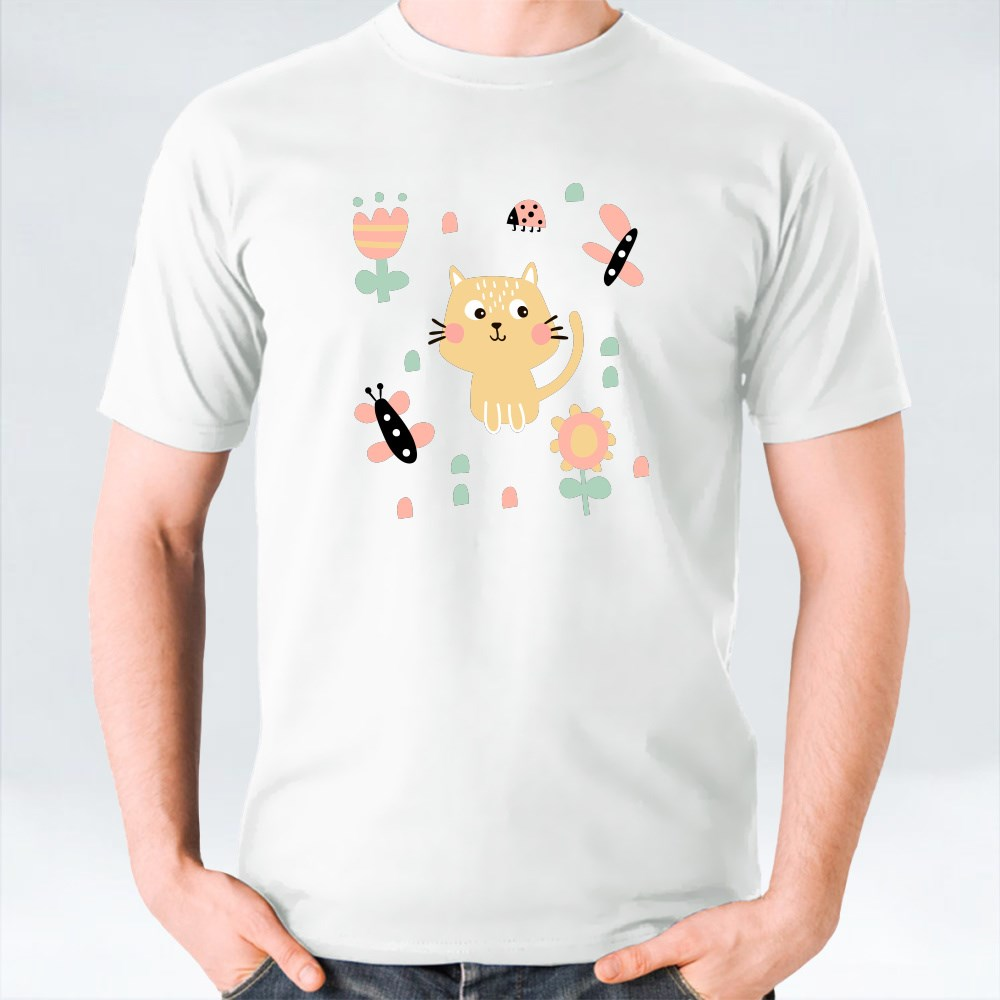 Cat With Butterflies and Flowers Pattern T-Shirts
