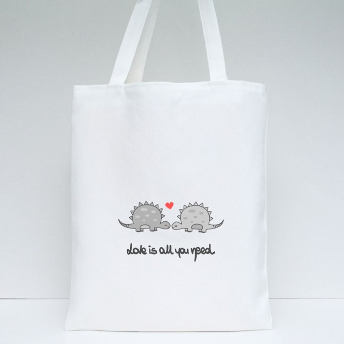 Cute Love Dinosaur Couple Tote Bags