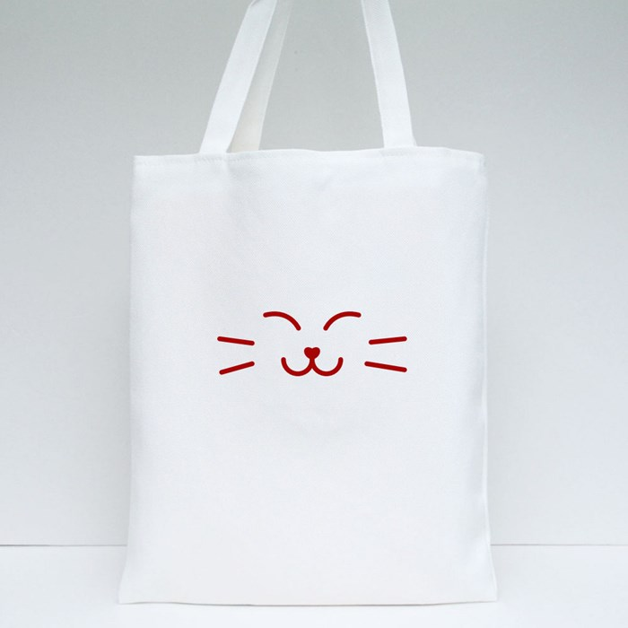 Satisfied Kitty Cat Banner Tote Bags