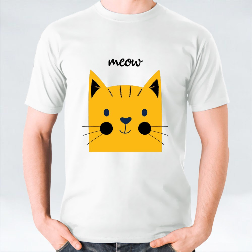 Yellow Cat and Meow Lettering With Summer Background T-Shirts