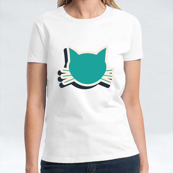 Green Cat Icon Isolated on Blue Background T-Shirts