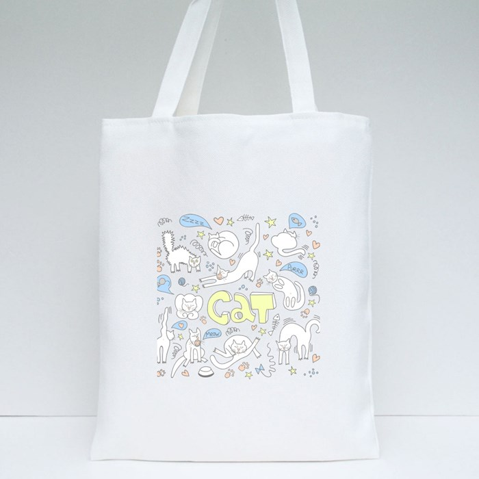Doodle Cats Pattern Tote Bags