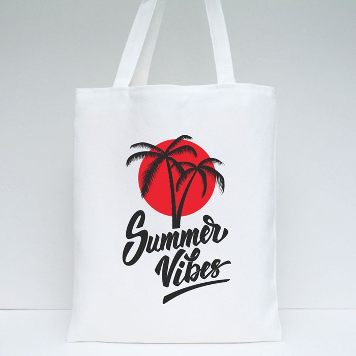 Summer Vibes Lettering Tote Bags
