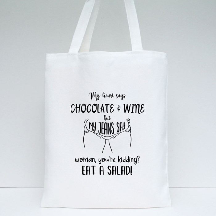 My Heart Says Chocolate and Wine Tote Bags