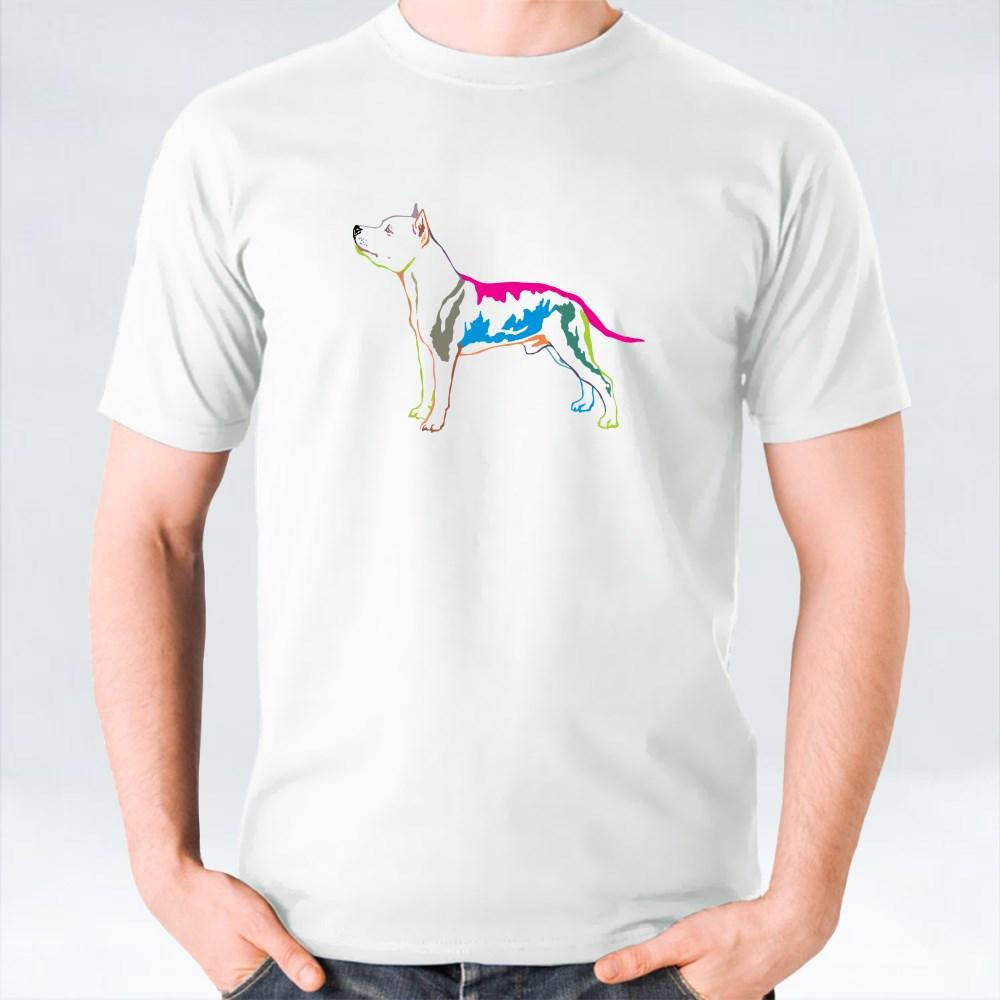 Decorative Potrait Of American Stafforshire Terrier T-Shirts