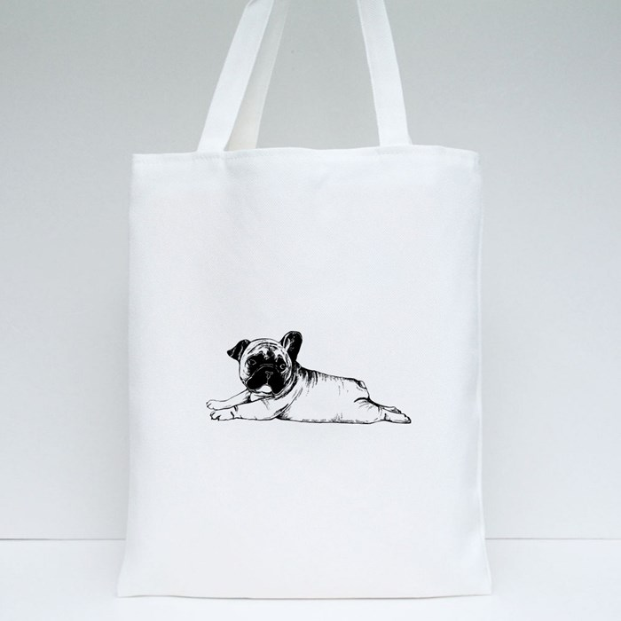 Hand Drawn Sketch Style French Bulldog Tote Bags