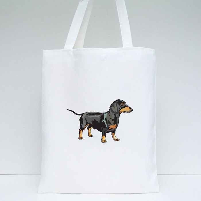 Potrait of Dachshund Tote Bags