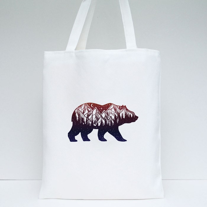 Bear With Dreamy Forest Tote Bags