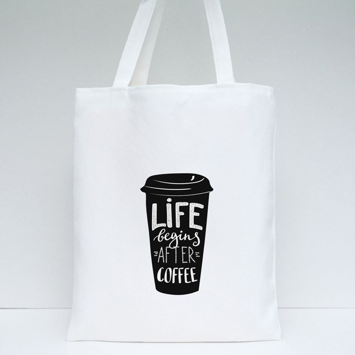 Quotes Lettering on Coffee Cups 2 Tote Bags