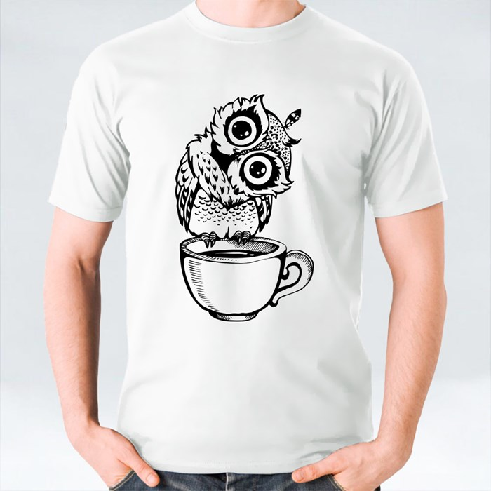 Owl Standing at the Edge of a Tea Cup 1 T-Shirts
