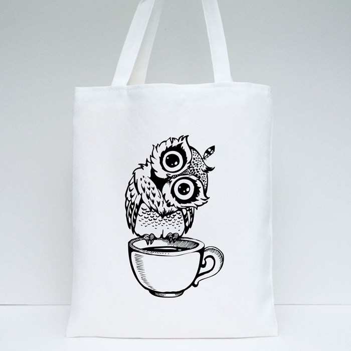 Owl Standing at the Edge of a Tea Cup 1 Tote Bags
