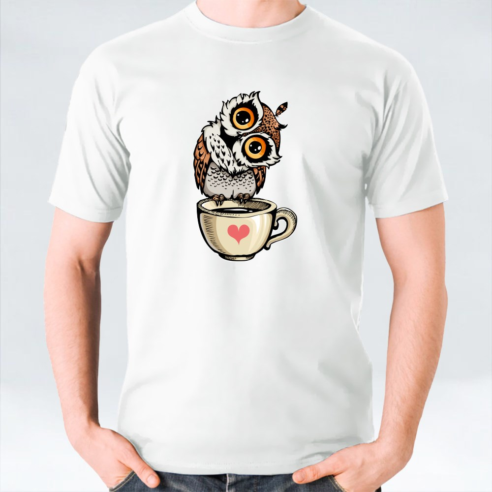 Owl Standing at the Edge of a Tea Cup 2 T-Shirts
