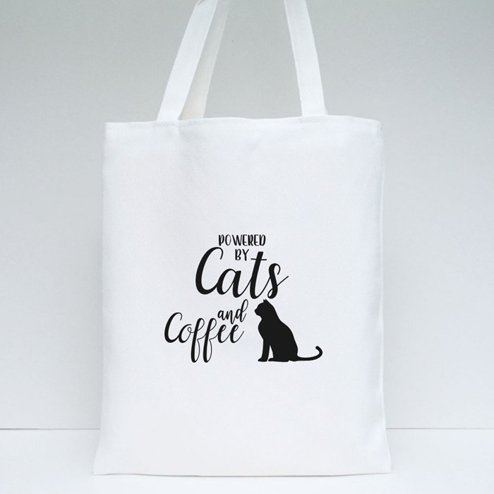 Powered by Cats and Coffee Tote Bags