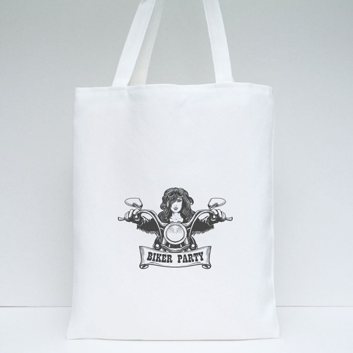 Sexy Girl Ride a Motorbike Tote Bags
