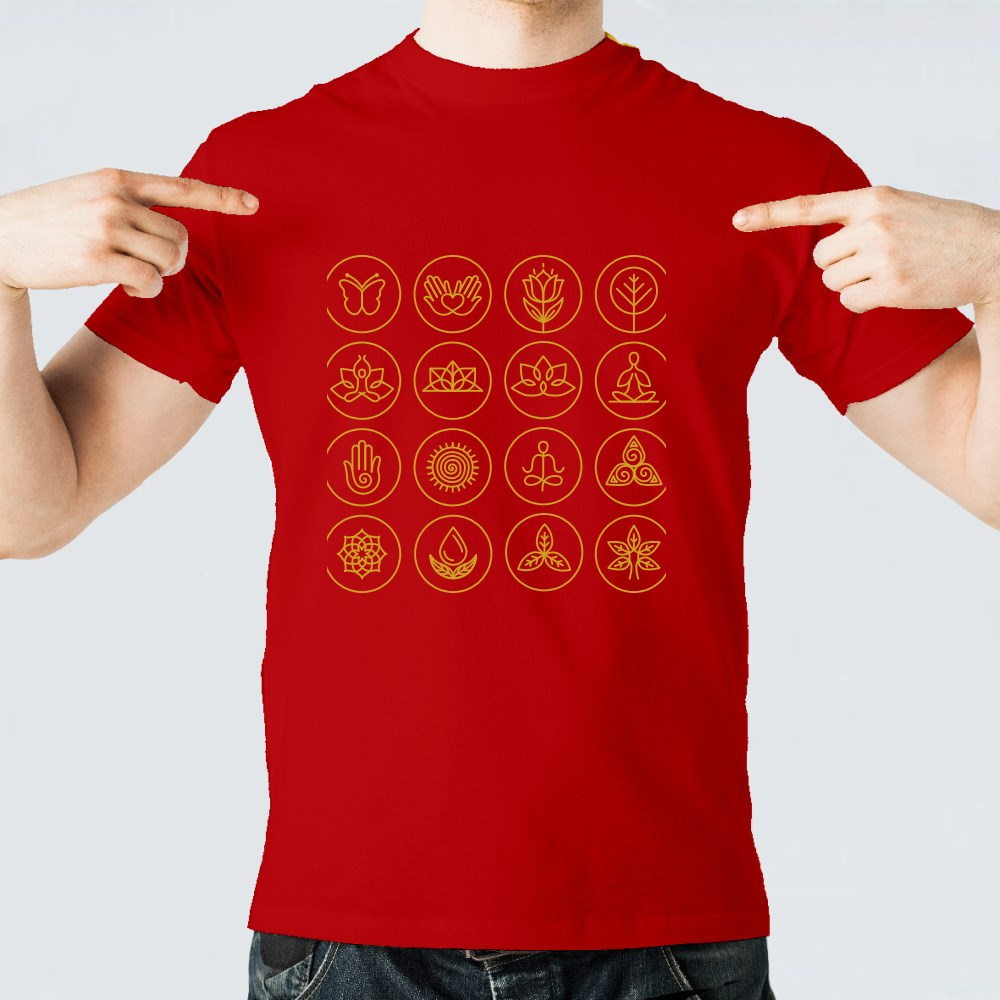 Vector Yoga Icons and Round Line Badges T-Shirts