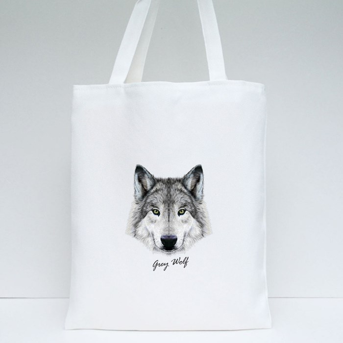 Gray Wolf Tote Bags