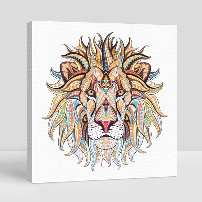 Patterned Head of the Lion Canvas (Square)