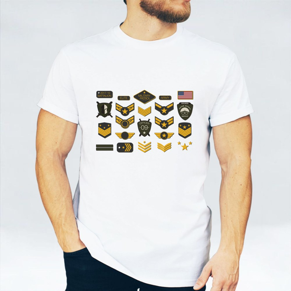 Military Badges and Army Patches Typography T-Shirts
