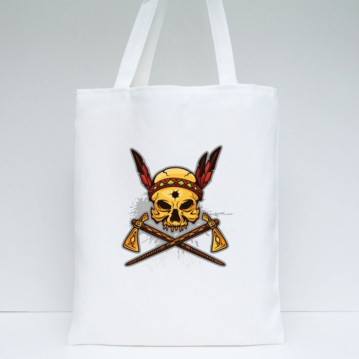 Skull of Indian Warrior Tote Bags