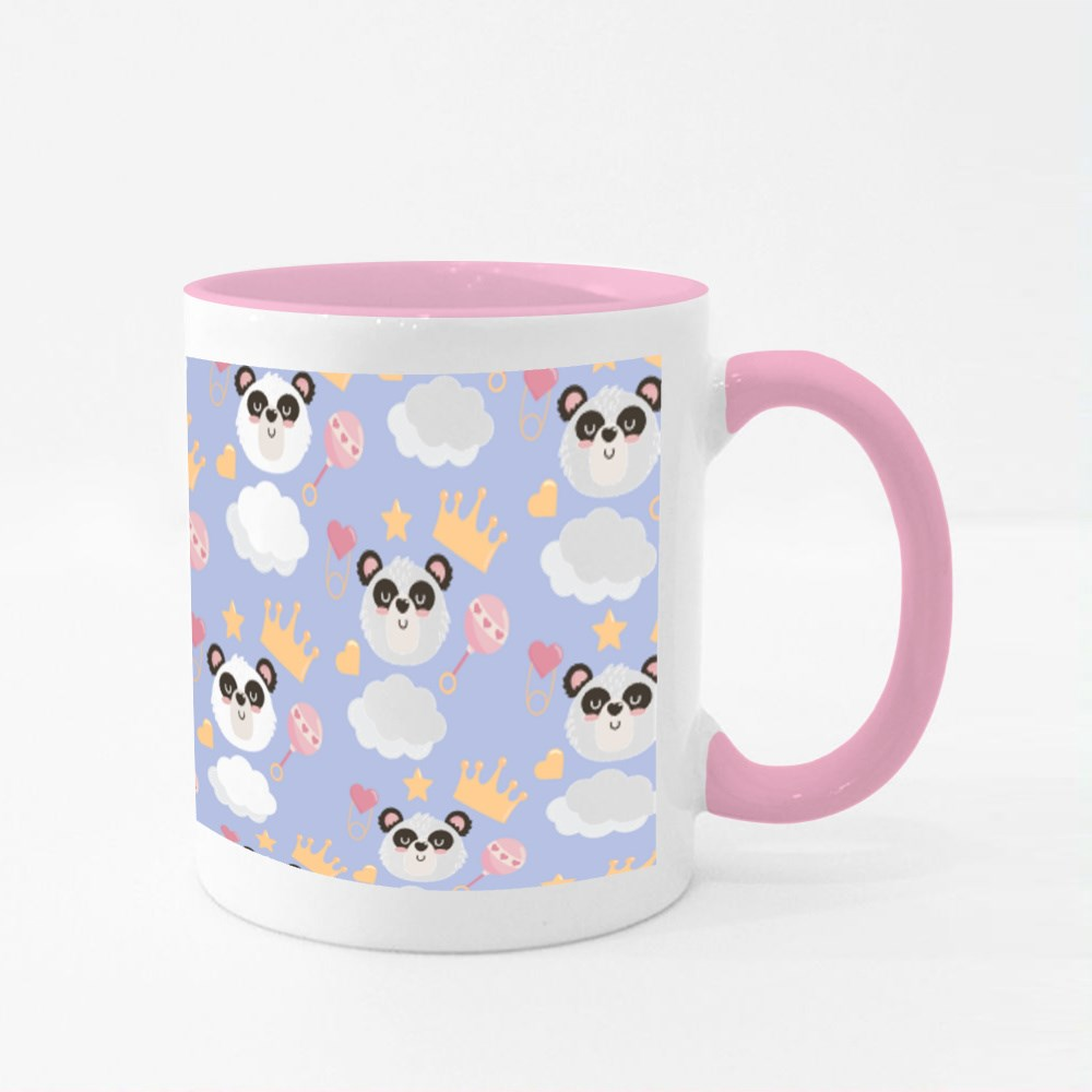 Panda Head With Rattle and Crown Colour Mugs