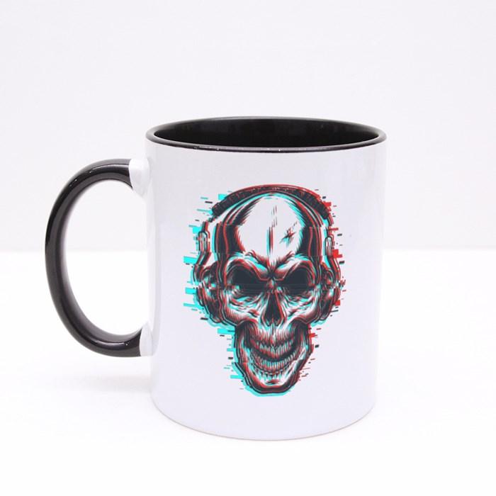 Skull With Headphones Colour Mugs