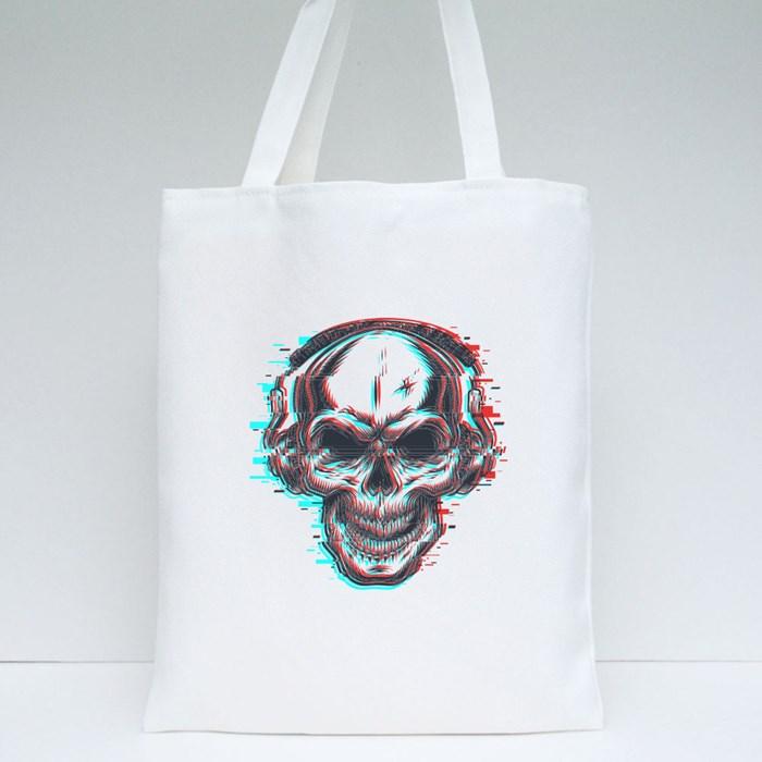 Skull With Headphones Tote Bags