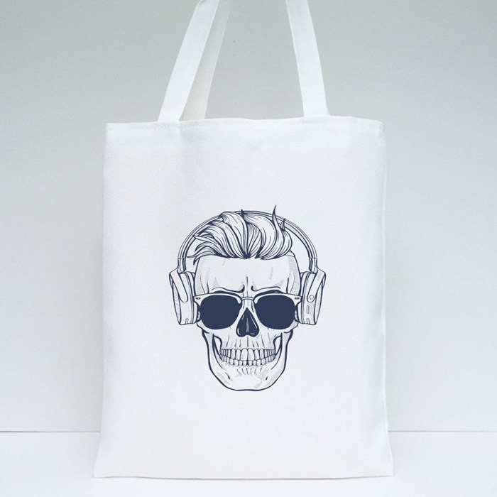 Skull With Hairstyle Tote Bags