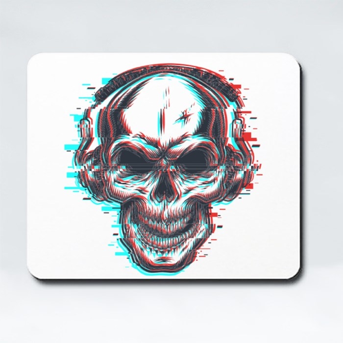 Skull With Headphones Mousepads (Rectangle)