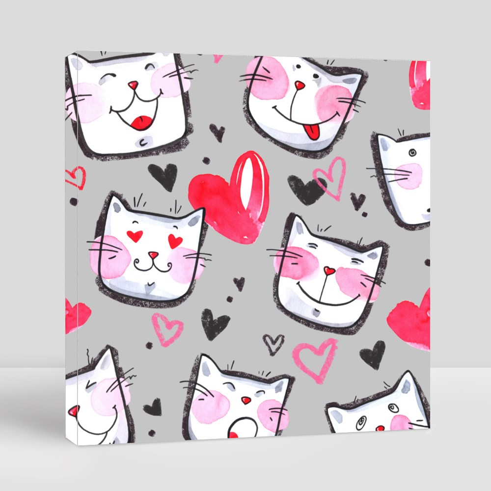 Xl Lovely Texture Cat Canvas (Square)