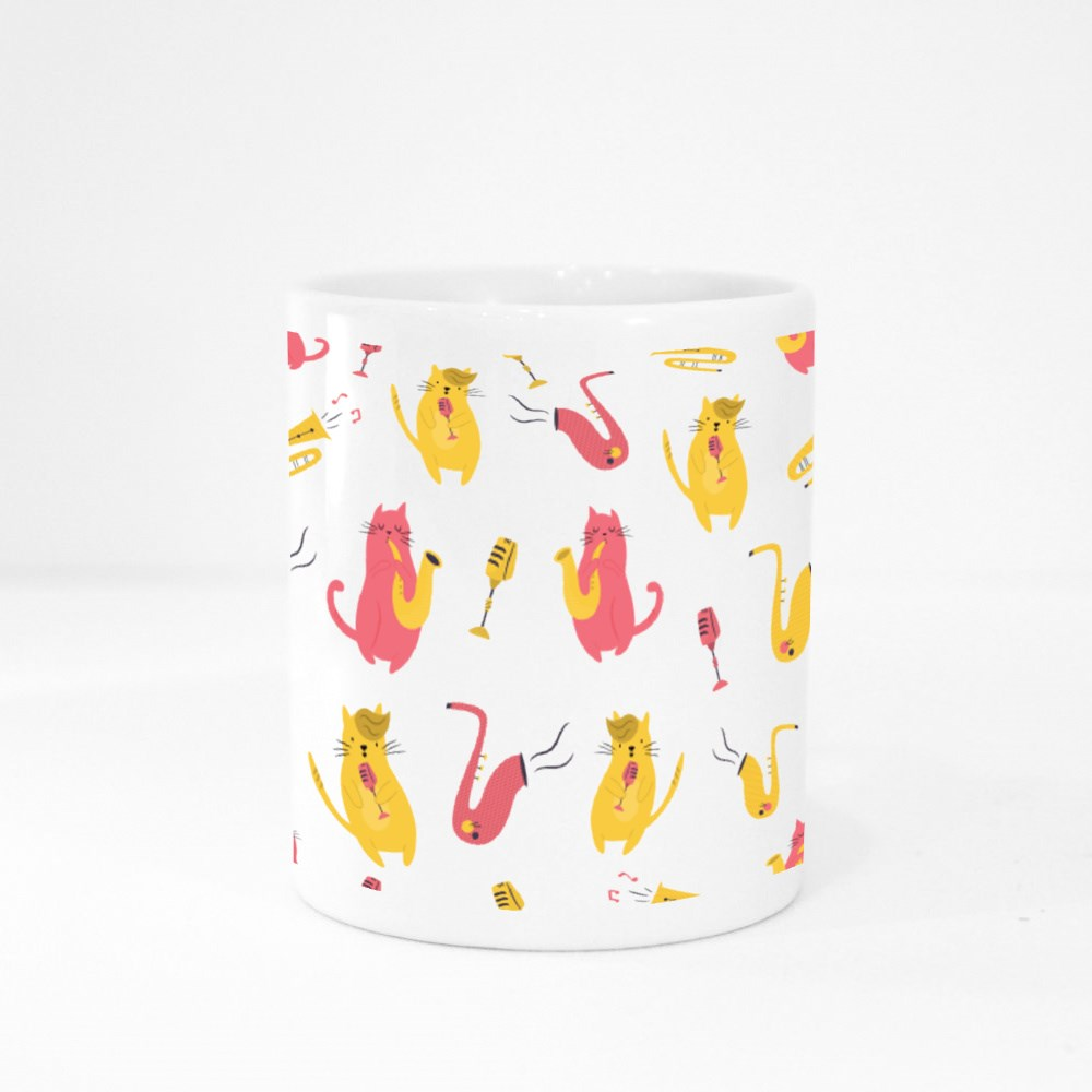 Cats Playing Different Musical Instruments Colour Mugs