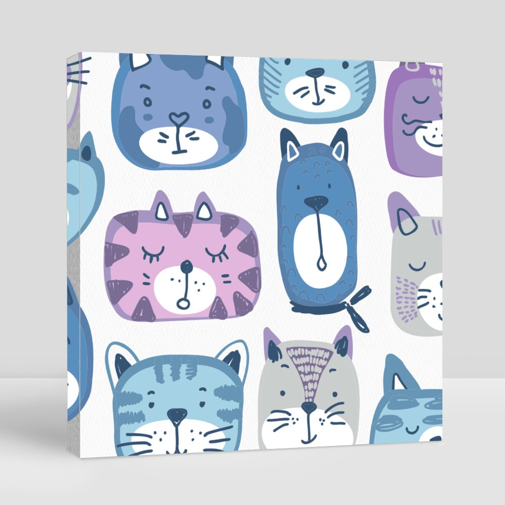Hand Drawn Colorful Cat Faces Canvas (Square)