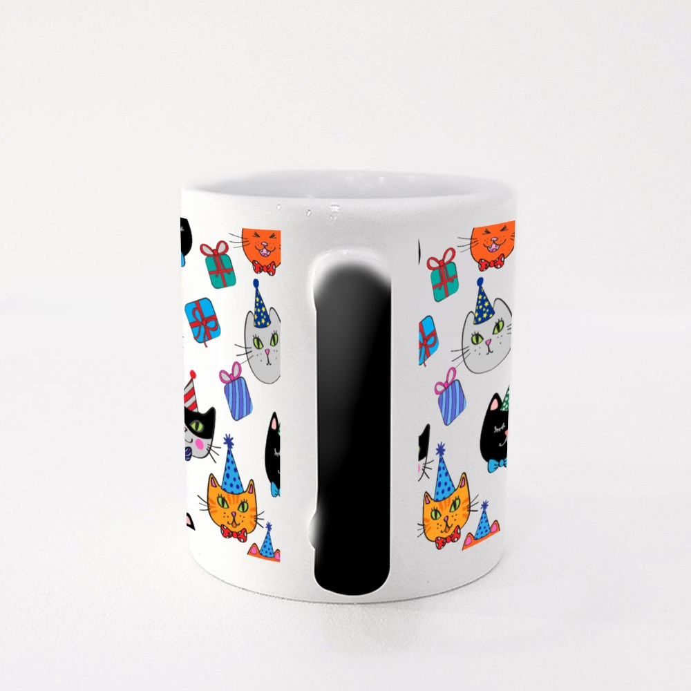 Cat Heads in Birthday Hats With Gifts Magic Mug