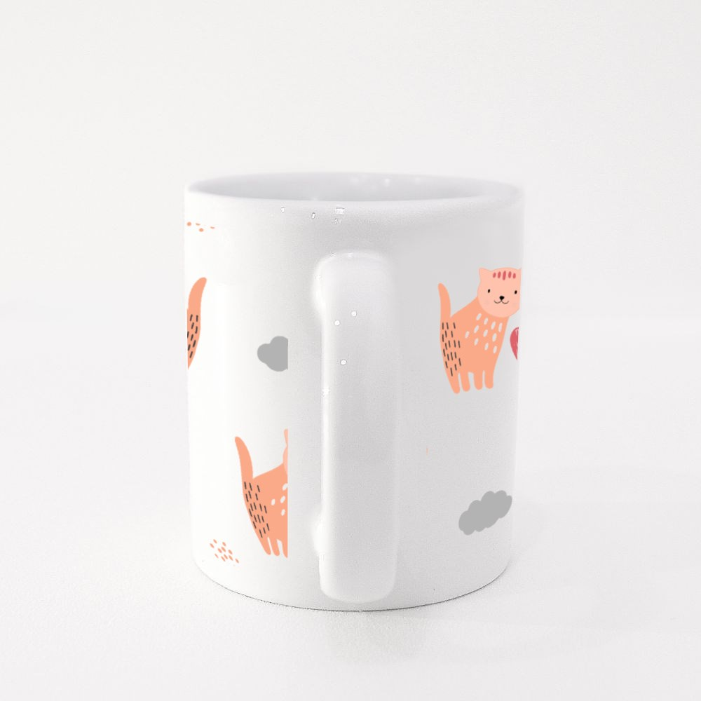 Hand Draw Cat With Love Colour Mugs
