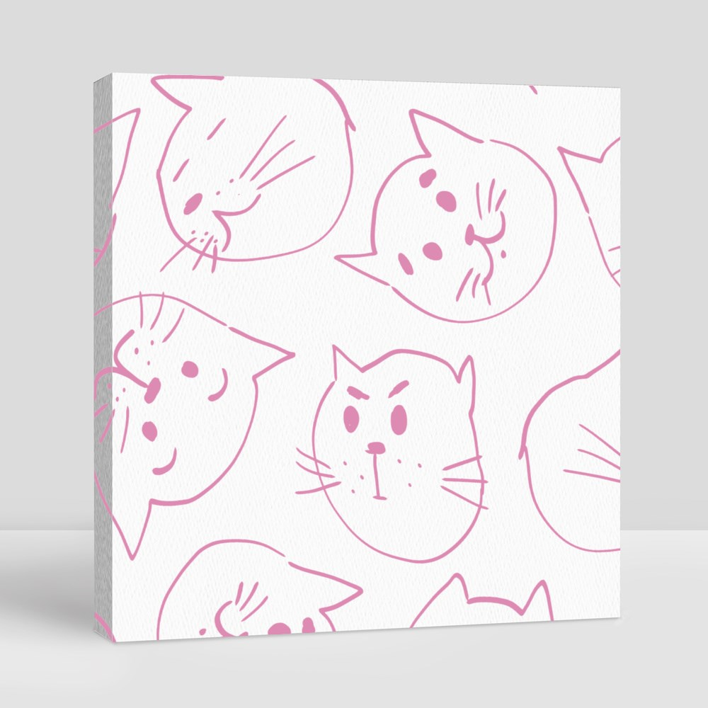 Cat Mood Muzzles on Pink Background Canvas (Square)