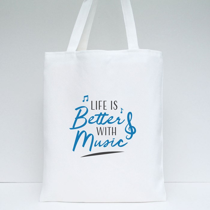 Music Quote Lettering Typography Tote Bags