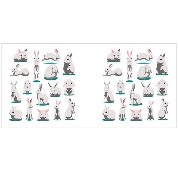 Cute White Rabbit Poses Colour Mugs