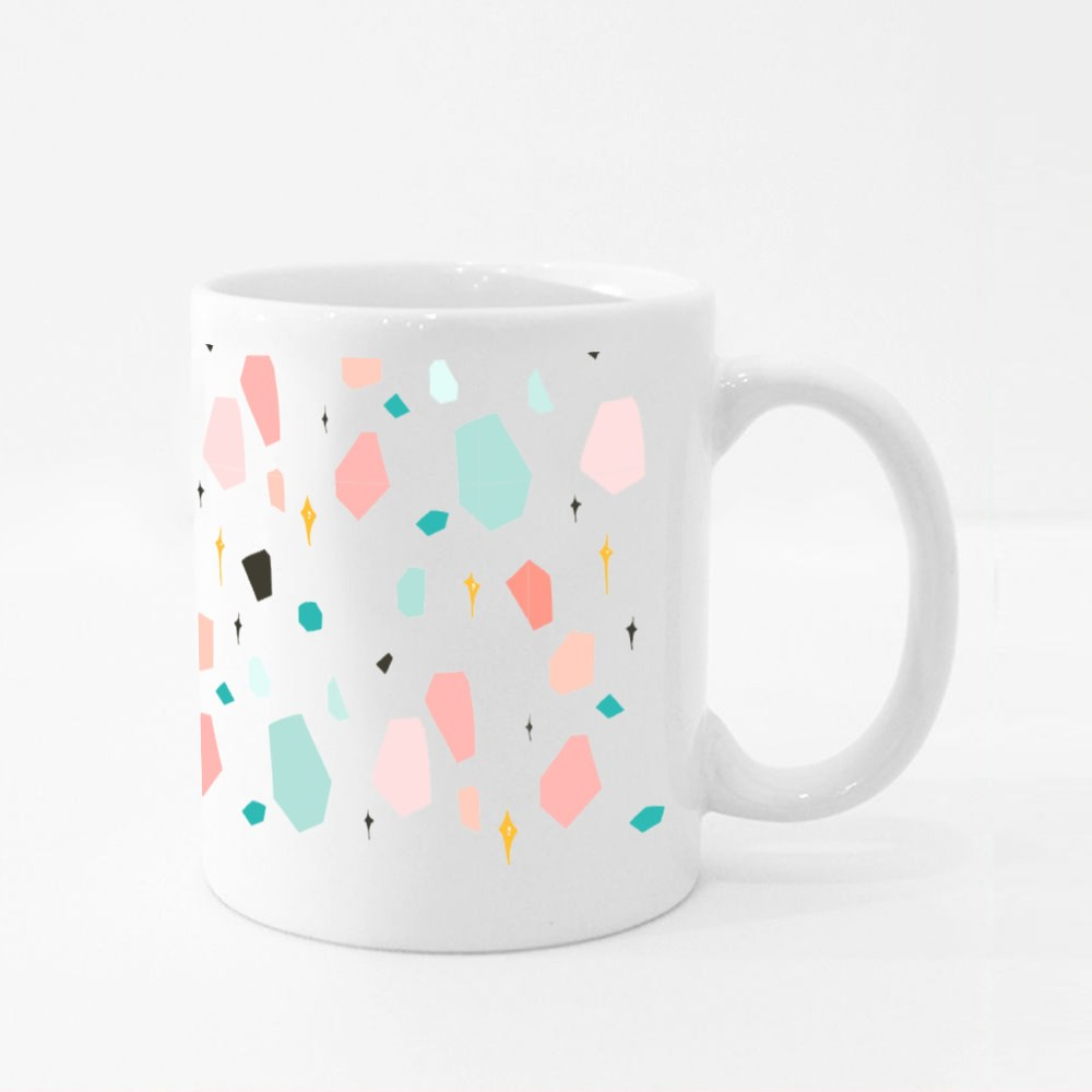 Abstract Graphic Simple Terrazzo Colour Mugs