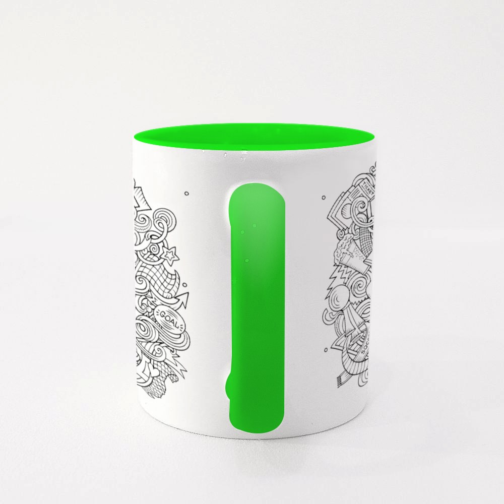 Colorful, Detailed, With Lots of Objects Background Colour Mugs