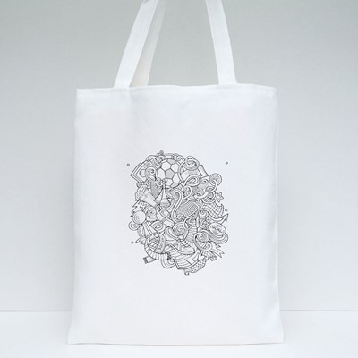 Colorful, Detailed, With Lots of Objects Background Tote Bags