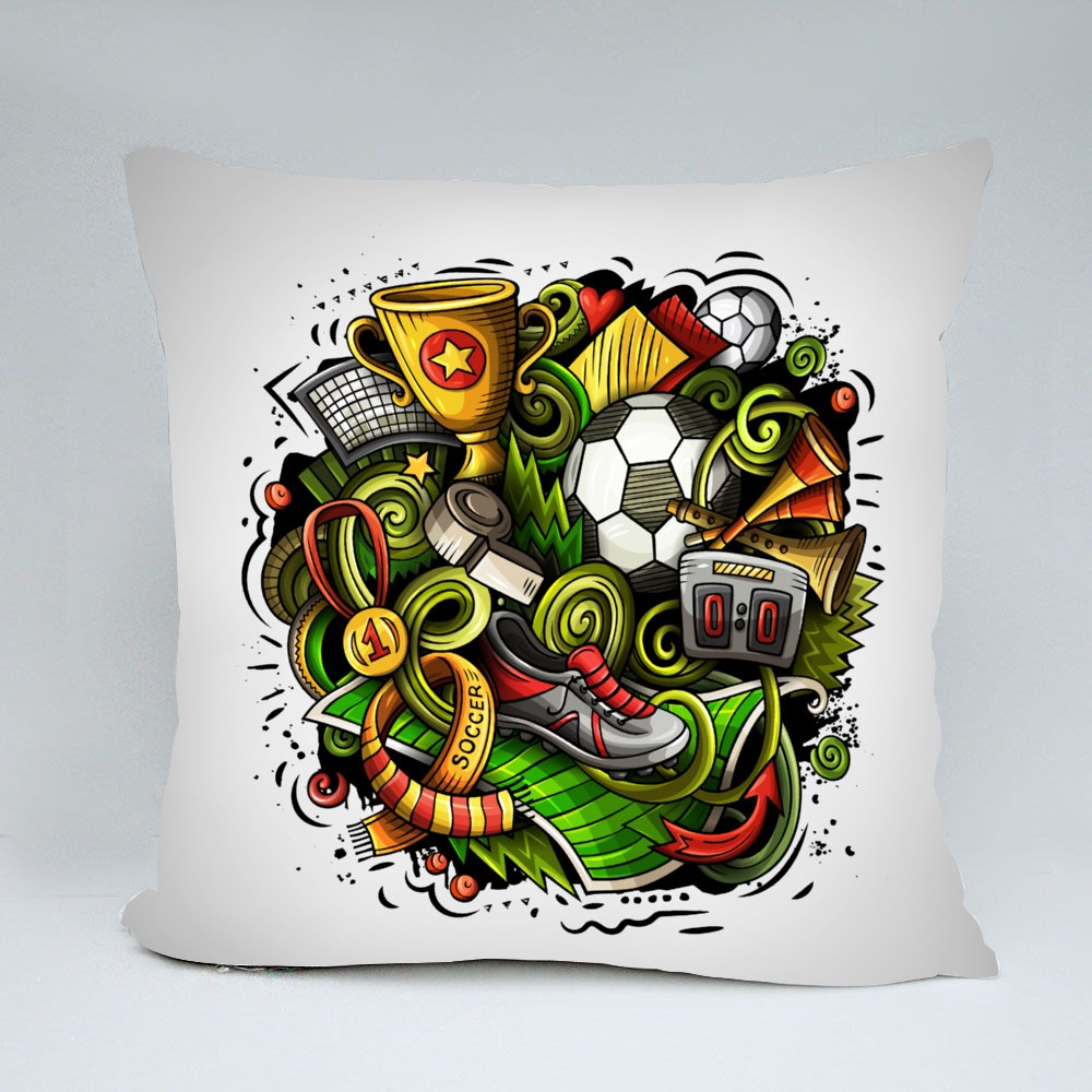 Bright Colors Soccer Funny Throw Pillows