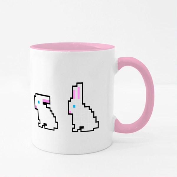 Pixel Easter Bunny Icons Colour Mugs