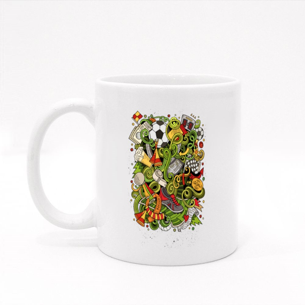 Hand Drawn Doodles Soccer Poster Colour Mugs