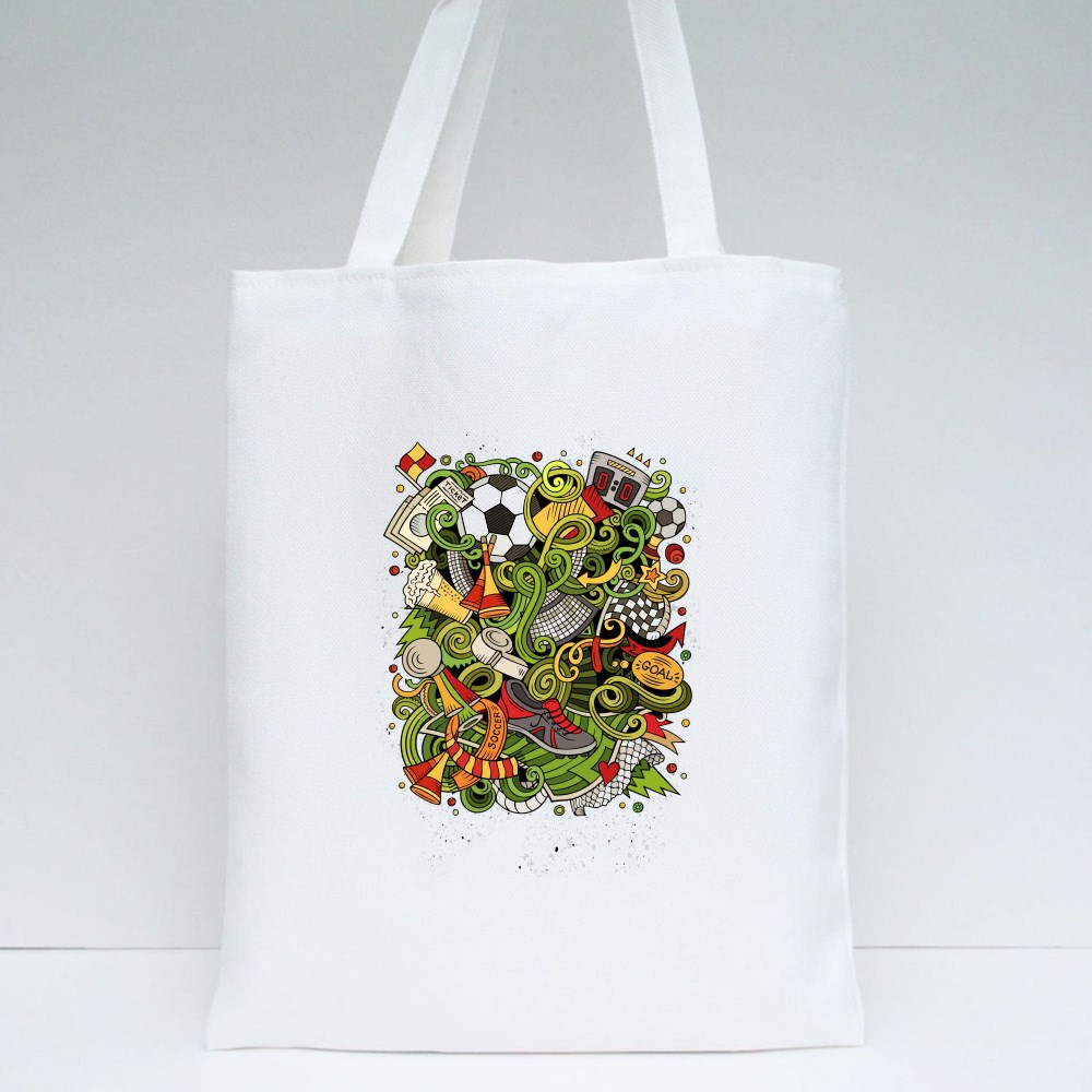 Hand Drawn Doodles Soccer Poster Tote Bags