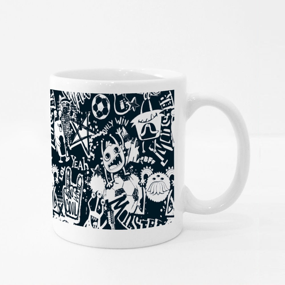 Grunge Style Monster Character Colour Mugs