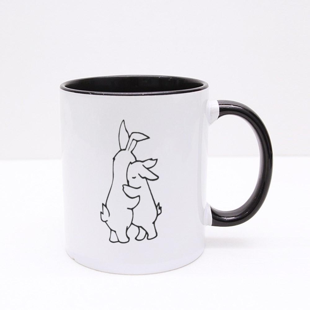 Two White Rabbits Hugging Colour Mugs