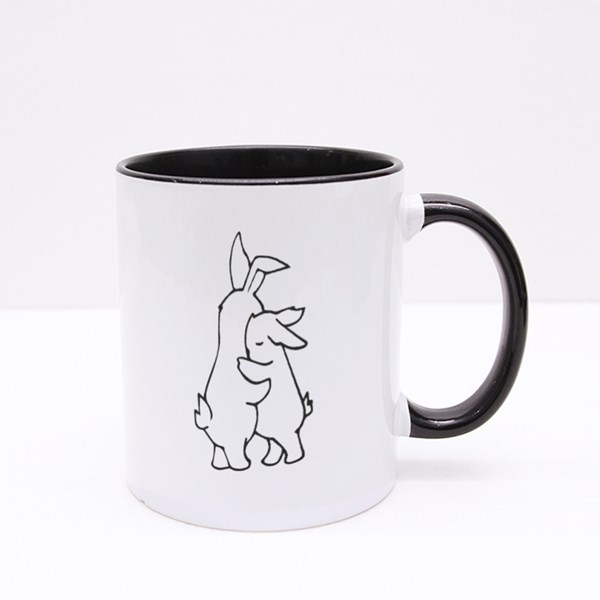 Two White Rabbits Hugging Colour Mugs