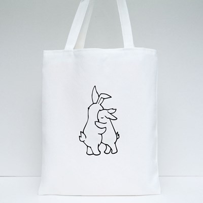 Two White Rabbits Hugging Tote Bags