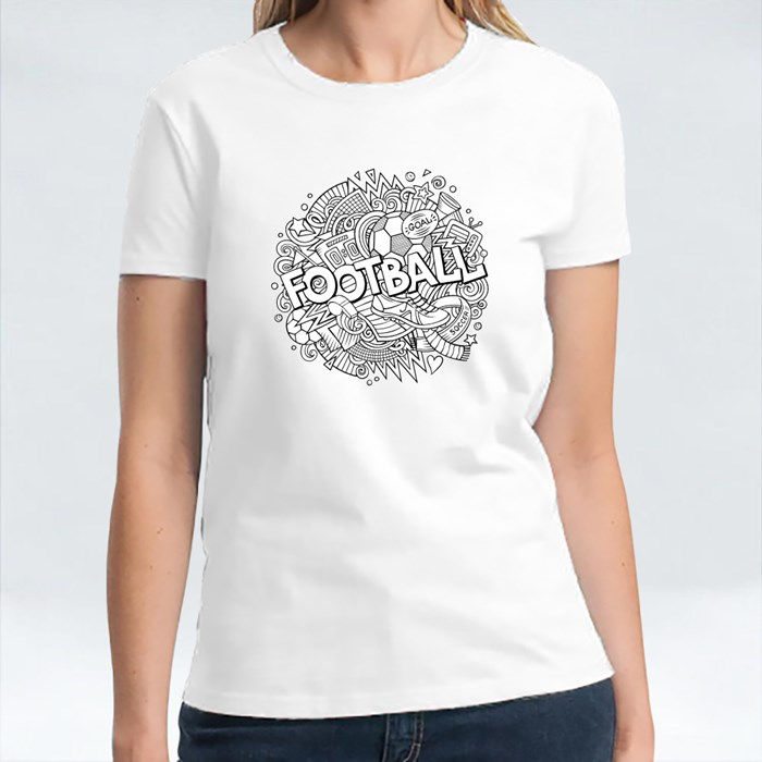 Cartoon Cute Doodles Hand Drawn Football Word T-Shirts